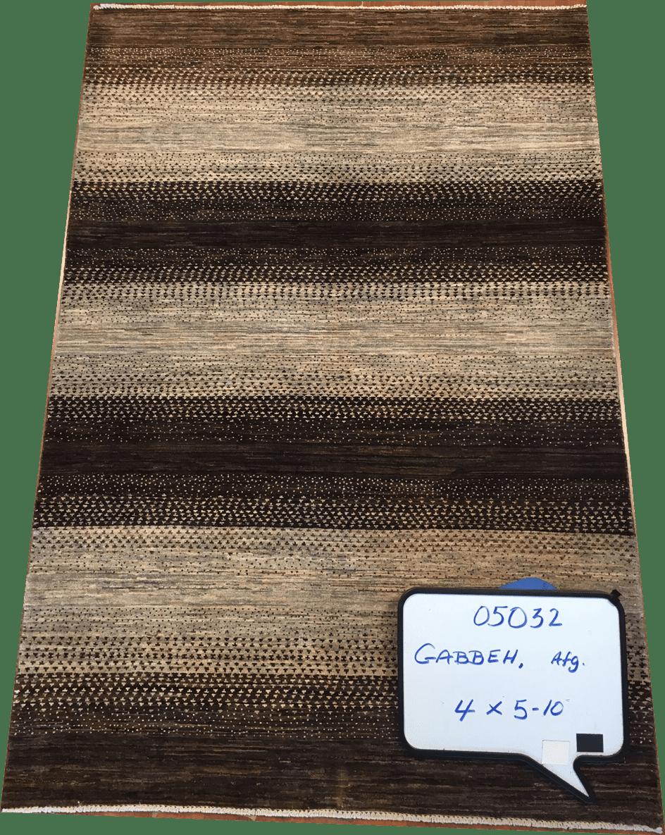 Gabbeh Afghan Beige Brown Silver 4x5-10 ws