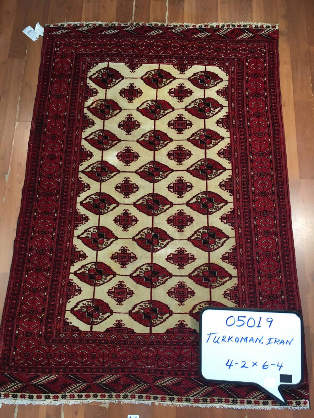 """Turkoman, Persian (4' 2'' x 6' 4"""")"""