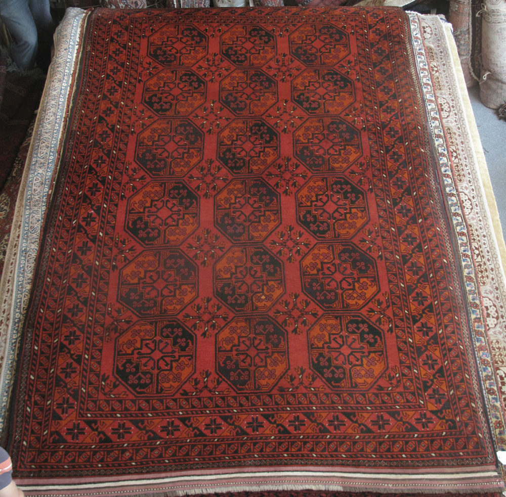 "Afghan, Vintage, Turkoman (6' 6"" x 10')"