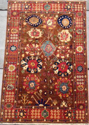 Tribal Afghan 4x6-1 Brown Red Blue WS