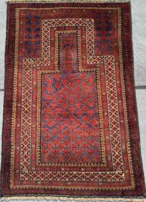 belouch prayer afghan 3x5 red blue white WS